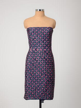 Blue-Pink Bandhani Silk Kurta Fabric