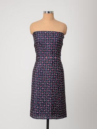 Blue-Ivory Bandhani Silk Kurta Fabric