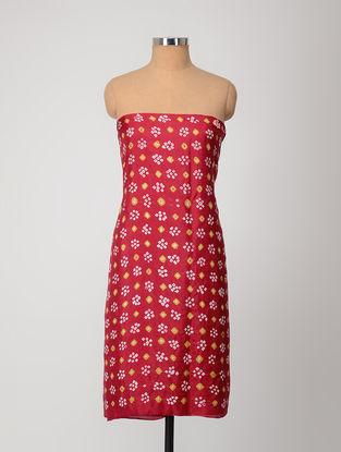 Red-Ivory Bandhani Silk Kurta Fabric
