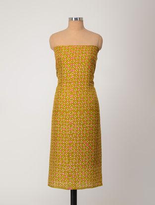 Green-Pink Bandhani Silk Kurta Fabric