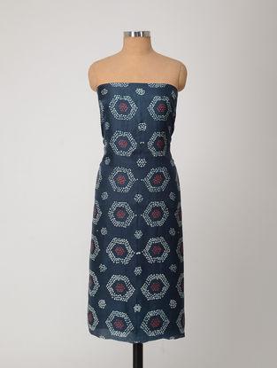 Blue-Red Bandhani Silk Kurta Fabric