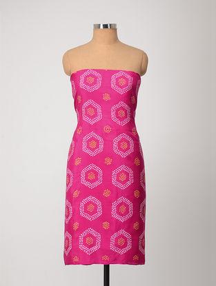 Pink-Yellow Bandhani Silk Kurta Fabric
