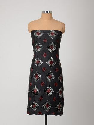 Black-Red Bandhani Silk Kurta Fabric
