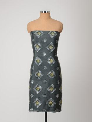 Grey-Yellow Bandhani Silk Kurta Fabric