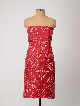 Red-Yellow Bandhani Silk Kurta Fabric