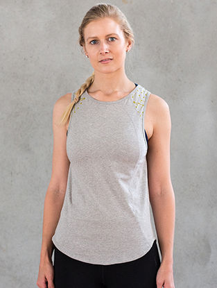 Grey Organic Dyed Cotton-Lycra Yoga Tank Top