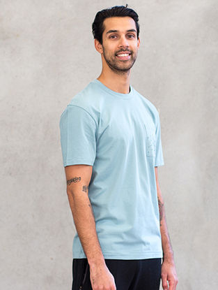Blue Organic Dyed Cotton T-Shirt