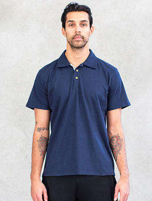 Navy Blue Organic Dyed Cotton Polo T-Shirt