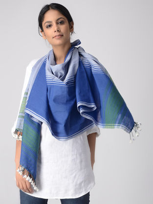 Blue-Green Cotton Stole with Tassels