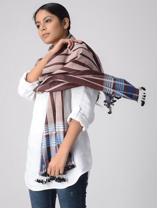 Brown-Blue Cotton Stole with Tassels