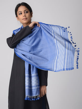Blue-White Cotton Stole with Tassels
