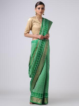Green-Ivory Patola Silk Saree with Zari