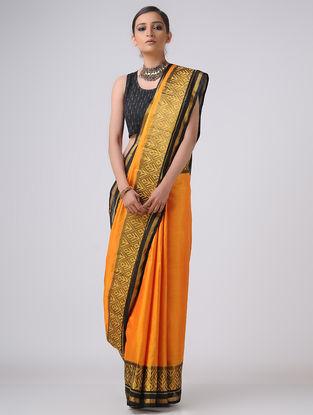Yellow-Black Patola Silk Saree with Zari