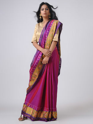 Pink-Purple Patola Silk Saree with Zari