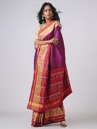 Purple-Red Patola Silk Saree with Zari