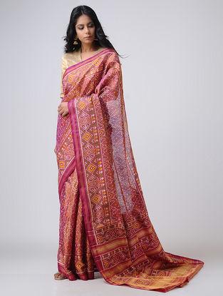 Pink-Ivory Patola Silk Saree with Zari