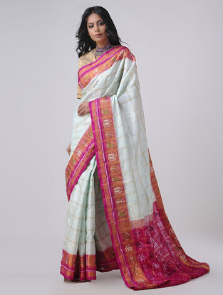 Ivory-Pink Patola Silk Saree with Zari