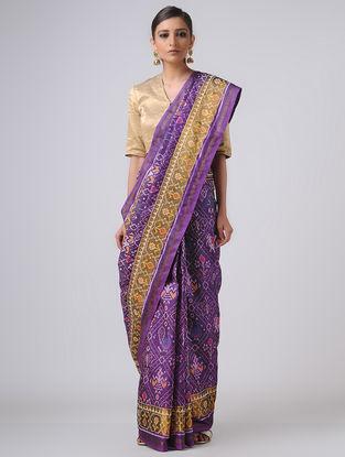 Purple-Ivory Patola Silk Saree with Zari