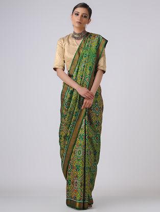 Green-Yellow Patola Silk Saree with Zari