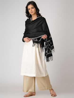 Black-White Chikankari Pashmina Blend Shawl