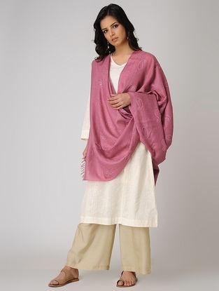 Pink Chikankari Pashmina Blend Shawl