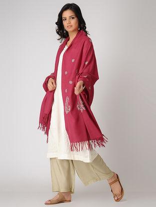 Red-Green Chikankari Pashmina Blend Shawl