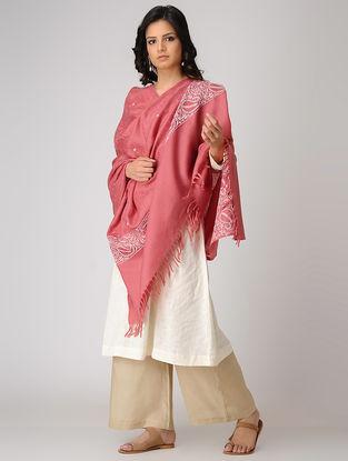 Red-Ivory Chikankari Pashmina Blend Shawl