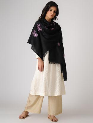 Black-Pink Chikankari Pashmina Blend Shawl