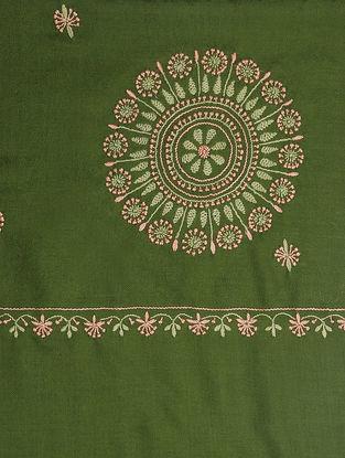 Green-Beige Chikankari Pashmina Blend Shawl