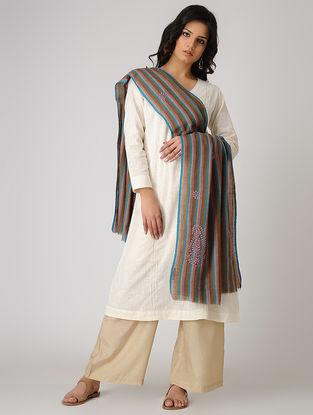 Brown-Blue Chikankari Pashmina Blend Shawl
