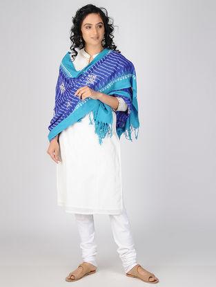 Blue-Ivory Chikankari Ikat Cotton Dupatta