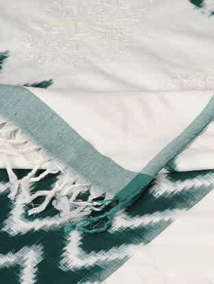 Ivory-Green Chikankari Ikat Cotton Dupatta
