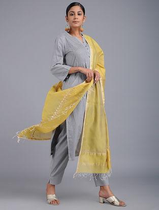 Green Chikankari Chanderi Dupatta with Zari and Sequins-work