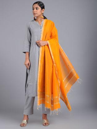 Yellow Chanderi Dupatta Zari and Bead-work