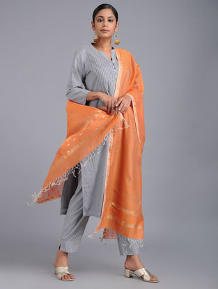 Orange Chanderi Dupatta with Zari and Sequins-work