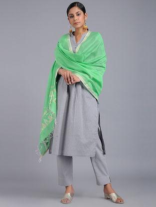Green Chanderi Dupatta with Zari and Sequins-work