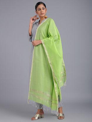 Green Chanderi Dupatta with Zari and Hand-work