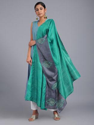 Green-Grey Chikankari Tussar Silk Dupatta