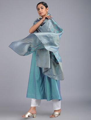 Grey-Turquoise Chikankari Tussar Silk Dupatta