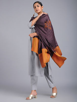 Purple-Orange Chikankari Tussar Silk Dupatta