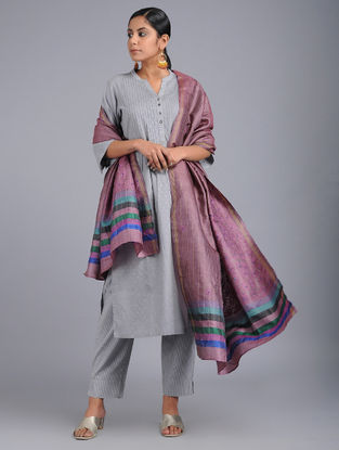 Purple-Blue Chikankari Tussar Silk Dupatta