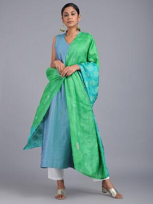 Green-Blue Chikankari Tussar Silk Dupatta