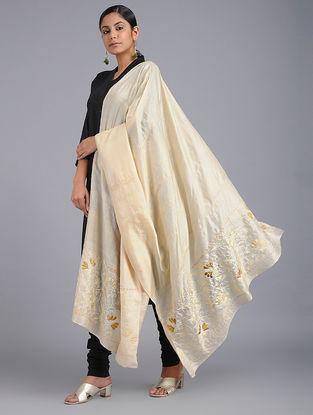 Ivory Chikankari Tussar Silk Dupatta with Mukaish-work
