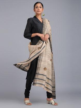 Beige-Black Chikankari Tussar Silk Dupatta