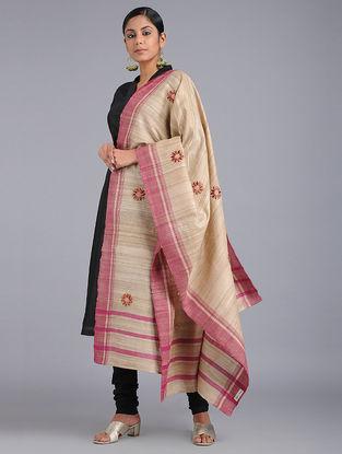 Beige-Pink Chikankari Tussar Silk Dupatta