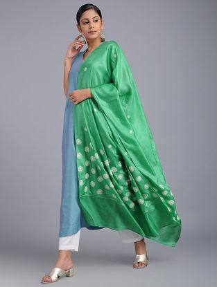 Green-Ivory Chikankari Tussar Silk Dupatta