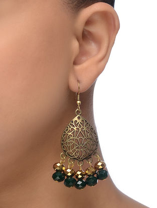 Green Gold Tone Beaded Earrings