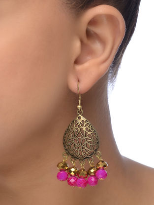 Pink Gold Tone Beaded Earrings