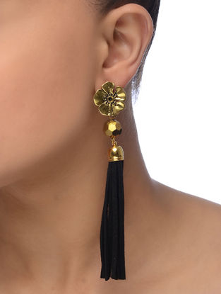 Black Gold Tone Earrings with Tassel