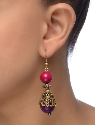 Pink-Purple Gold Tone Wood Earrings